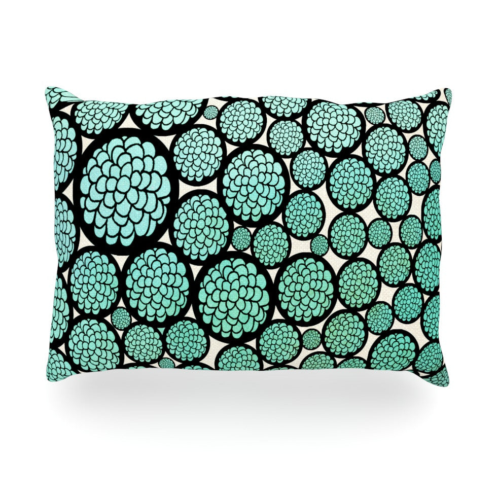 "Pom Graphic Design ""Blooming Trees"" Turquoise Circles Oblong Pillow - KESS InHouse"