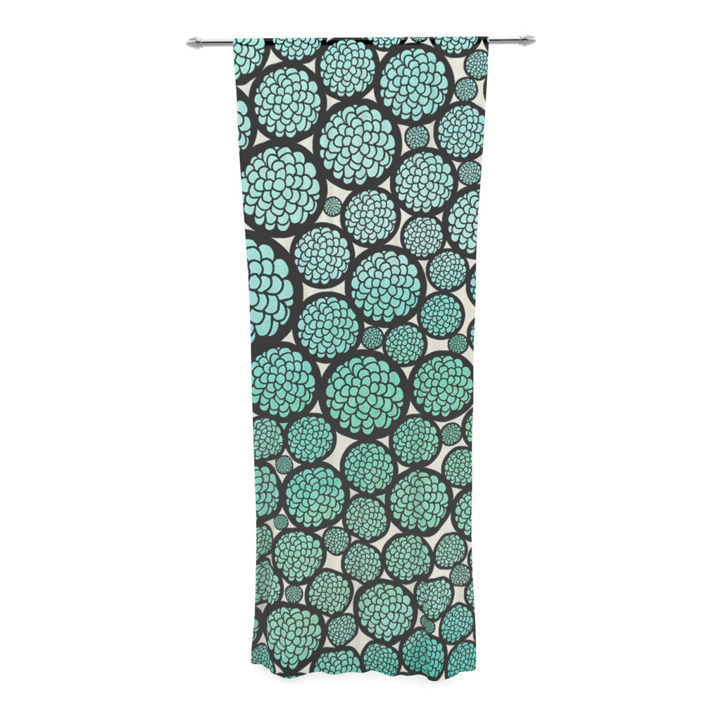 "Pom Graphic Design ""Blooming Trees"" Turquoise Circles Decorative Sheer Curtain - KESS InHouse  - 1"