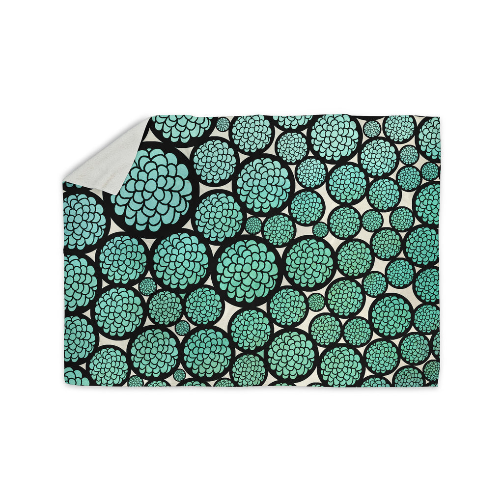 "Pom Graphic Design ""Blooming Trees"" Turquoise Circles Sherpa Blanket - KESS InHouse  - 1"