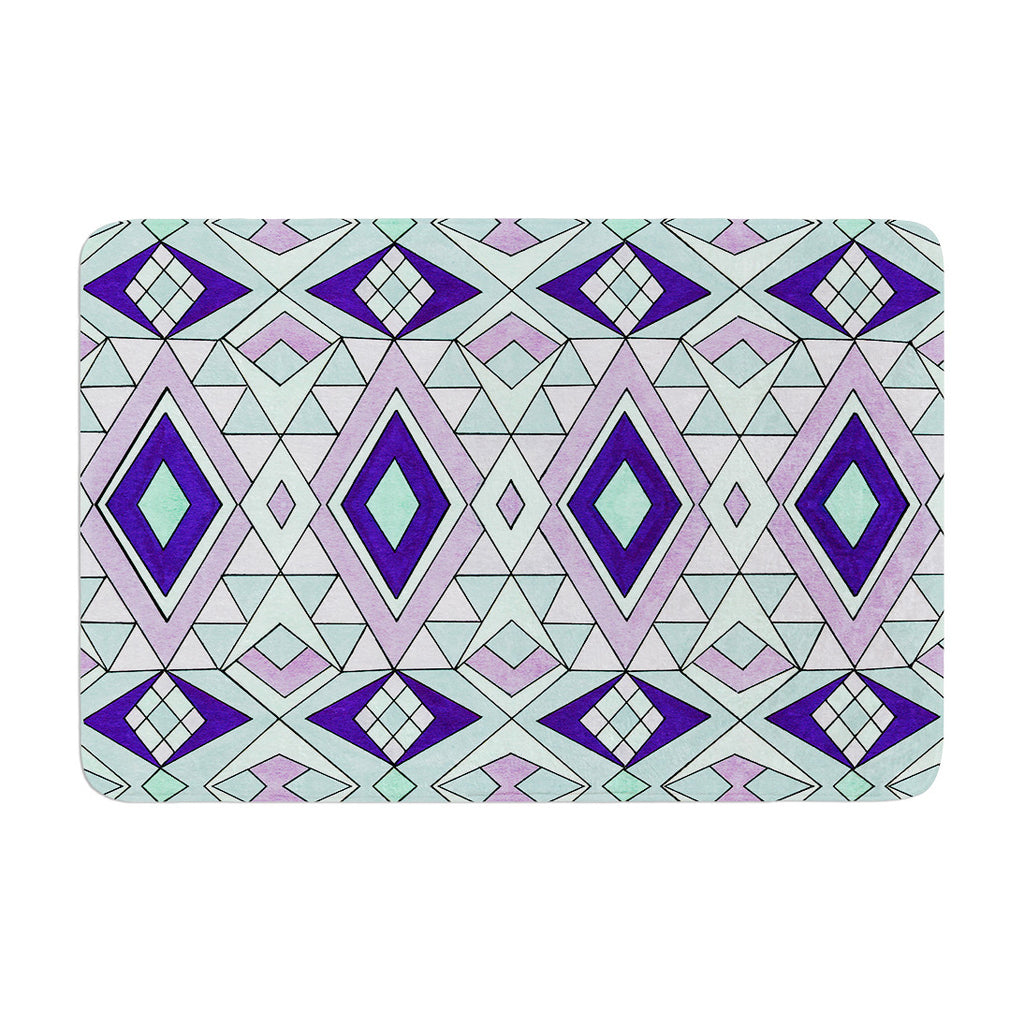 "Pom Graphic Design ""Gems"" Purple Teal Memory Foam Bath Mat - KESS InHouse"