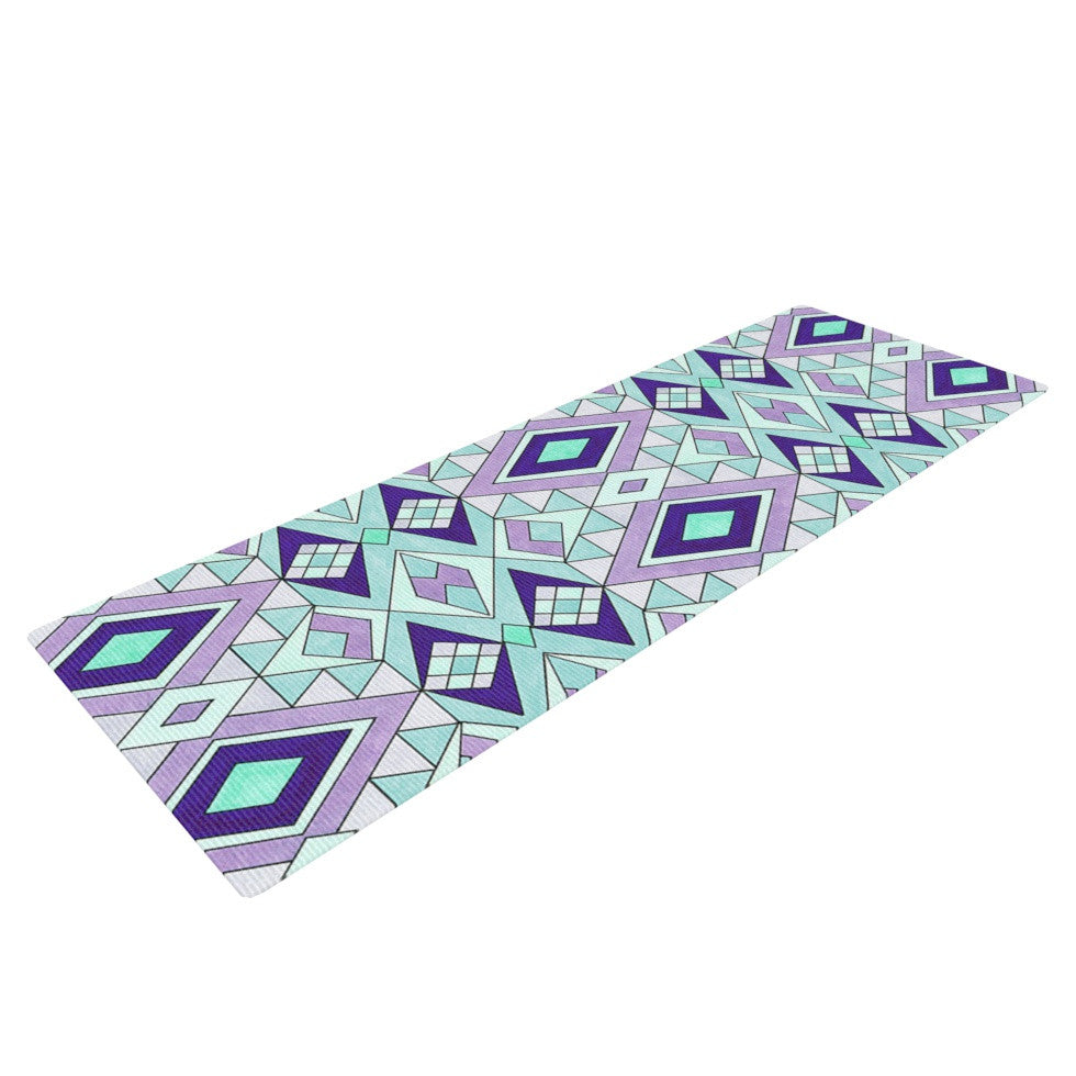 "Pom Graphic Design ""Gems"" Purple Teal Yoga Mat - KESS InHouse  - 1"