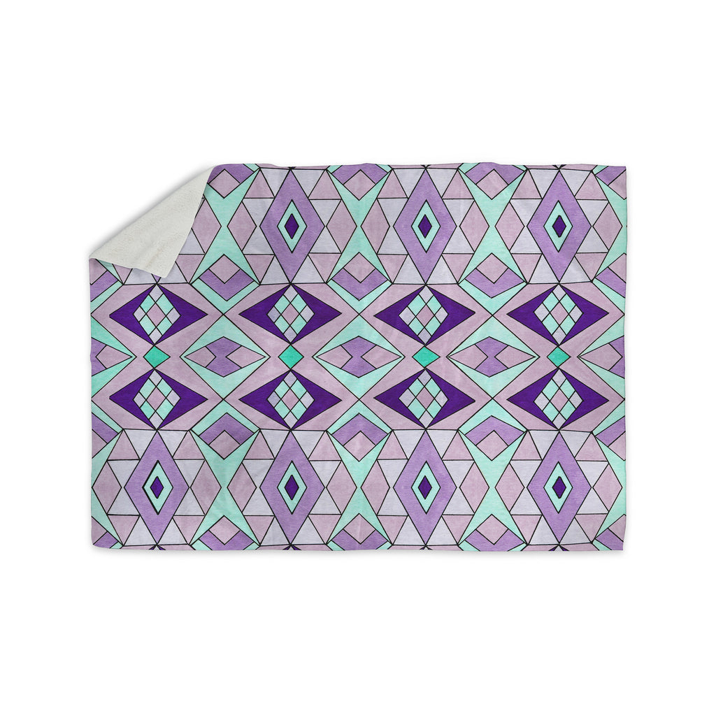 "Pom Graphic Design ""Geometric Flow"" Lavender Geometric Sherpa Blanket - KESS InHouse"