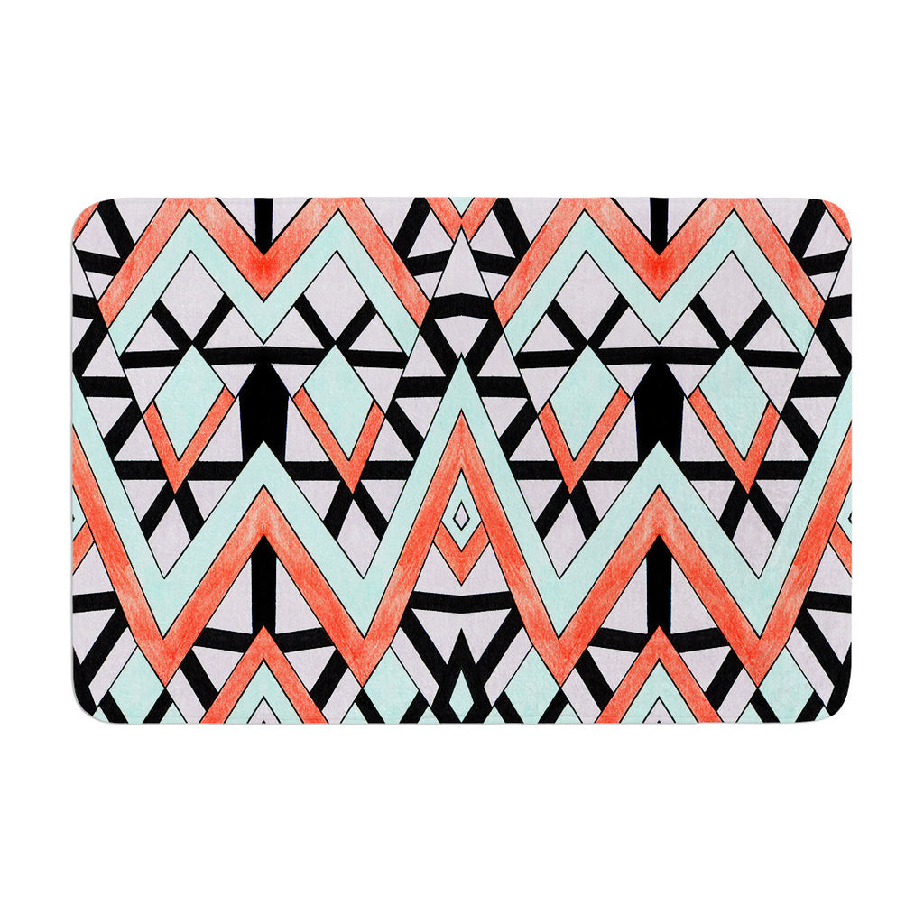 "Pom Graphic Design ""Geometric Mountains"" Orange Teal Memory Foam Bath Mat - KESS InHouse"