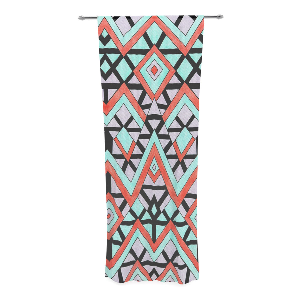 "Pom Graphic Design ""Geometric Mountains"" Orange Teal Decorative Sheer Curtain - KESS InHouse  - 1"