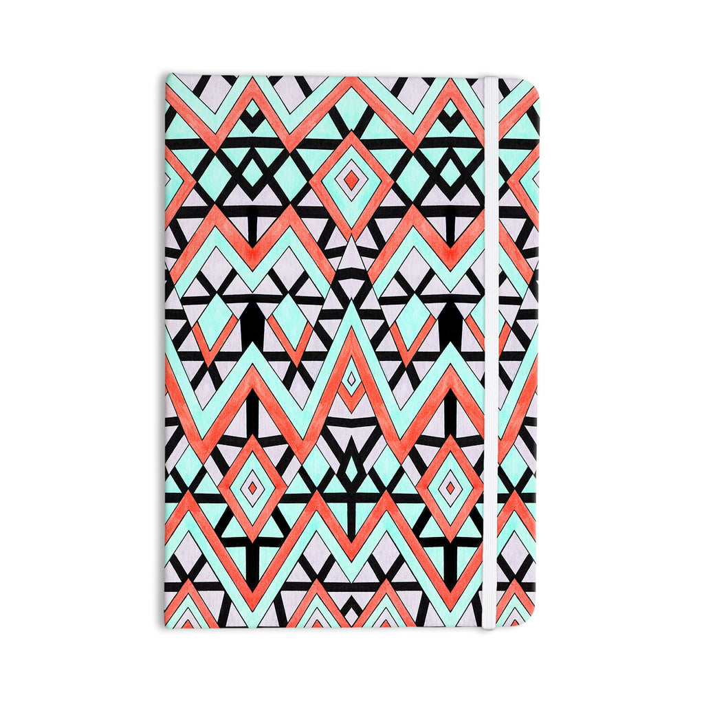 "Pom Graphic Design ""Geometric Mountains"" Orange Teal Everything Notebook - KESS InHouse  - 1"