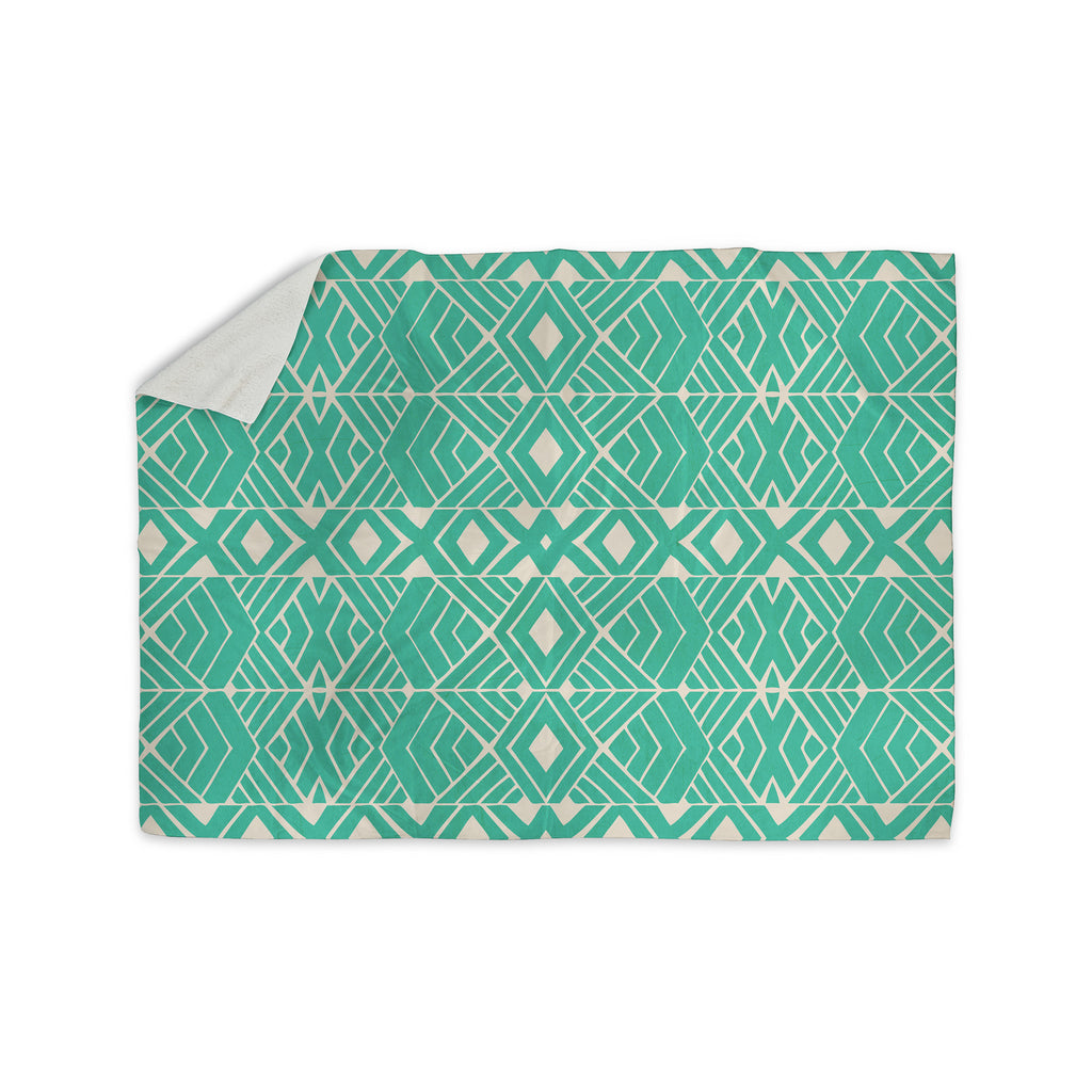 "Pom Graphic Design ""Going Native"" Teal Sherpa Blanket - KESS InHouse  - 1"