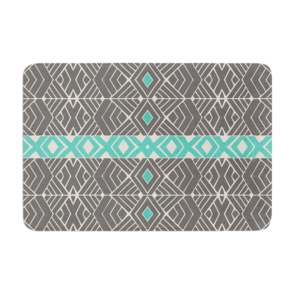 "Pom Graphic Design ""Going Tribal"" Gray Green Memory Foam Bath Mat - KESS InHouse"