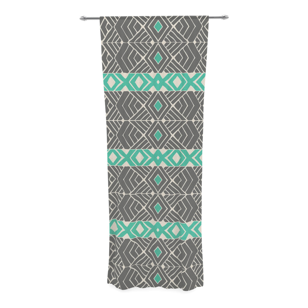 "Pom Graphic Design ""Going Tribal"" Gray Green Decorative Sheer Curtain - KESS InHouse  - 1"