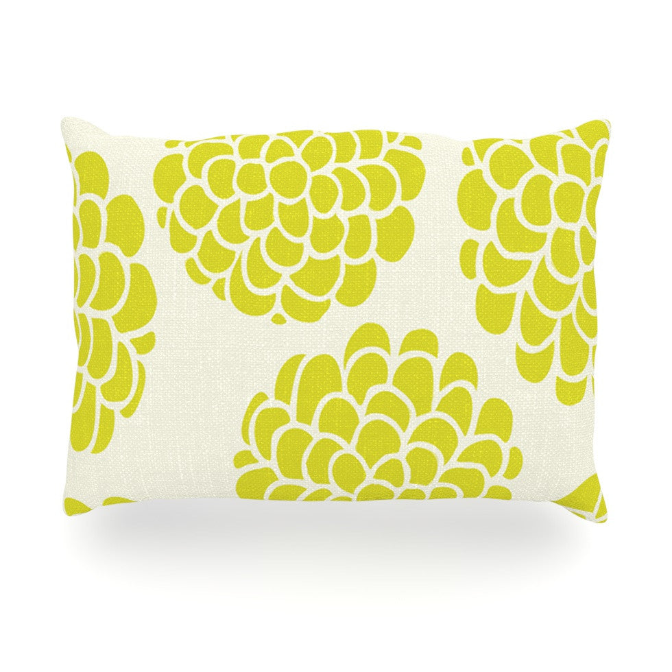 "Pom Graphic Design ""Grape Blossoms"" Yellow Circles Oblong Pillow - KESS InHouse"