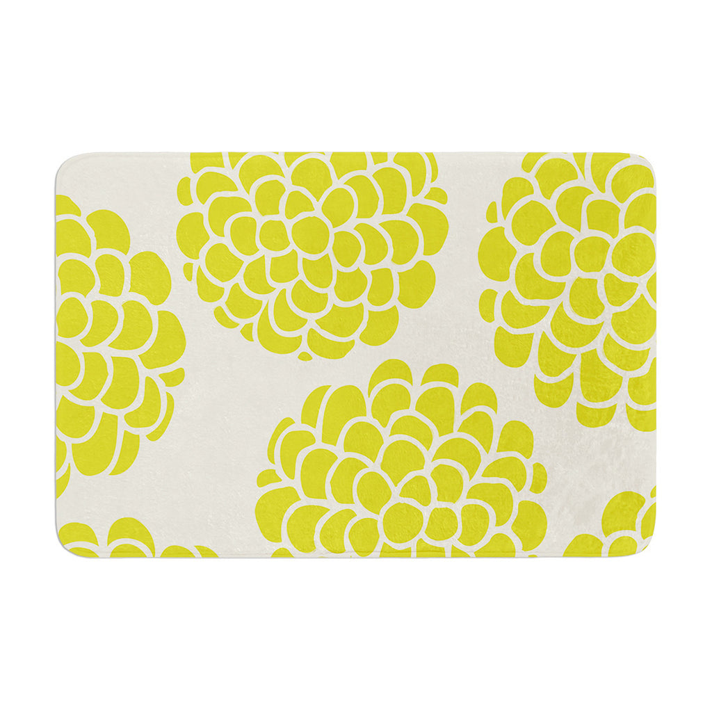 "Pom Graphic Design ""Grape Blossoms"" Yellow Circles Memory Foam Bath Mat - KESS InHouse"