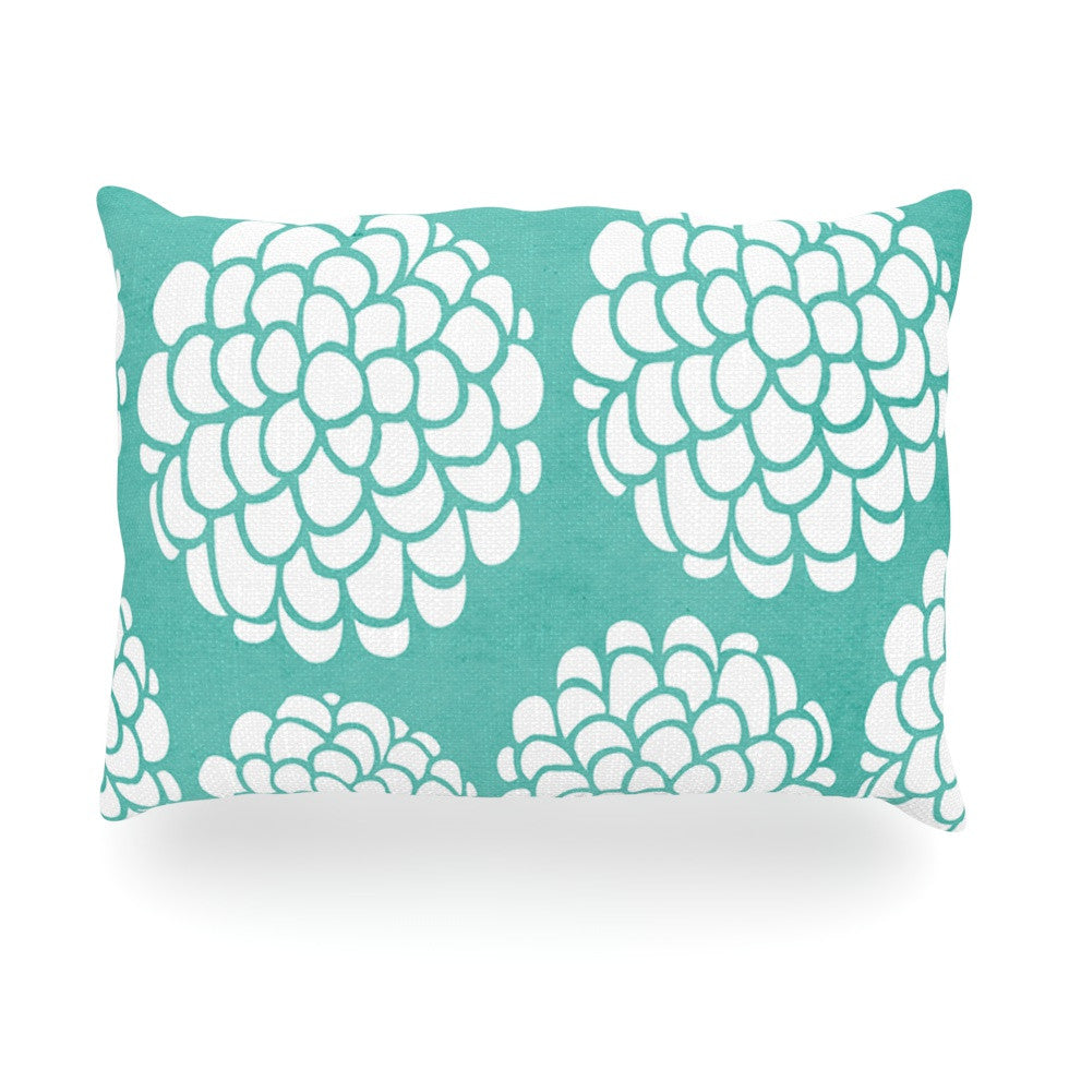"Pom Graphic Design ""Hydrangea's Blossoms"" Teal Circles Oblong Pillow - KESS InHouse"