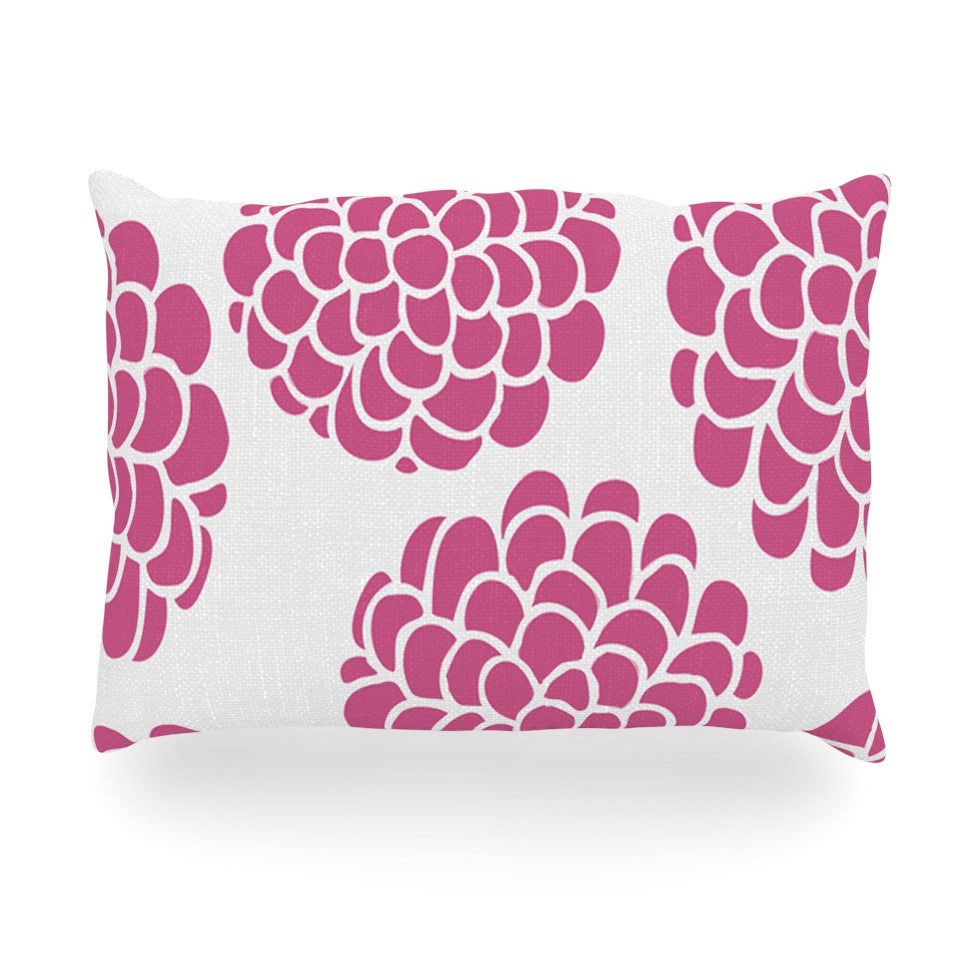 "Pom Graphic Design ""Raspberry Blossoms"" Teal Circles Oblong Pillow - KESS InHouse"