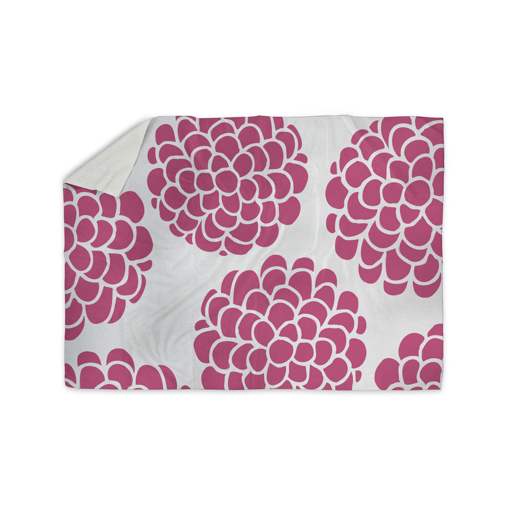 "Pom Graphic Design ""Raspberry Blossoms"" Magenta Pink Sherpa Blanket - KESS InHouse  - 1"