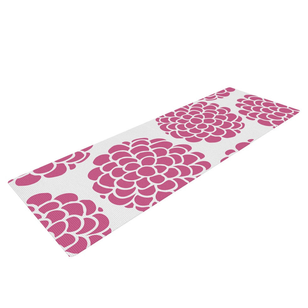 "Pom Graphic Design ""Raspberry Blossoms"" Teal Circles Yoga Mat - KESS InHouse  - 1"