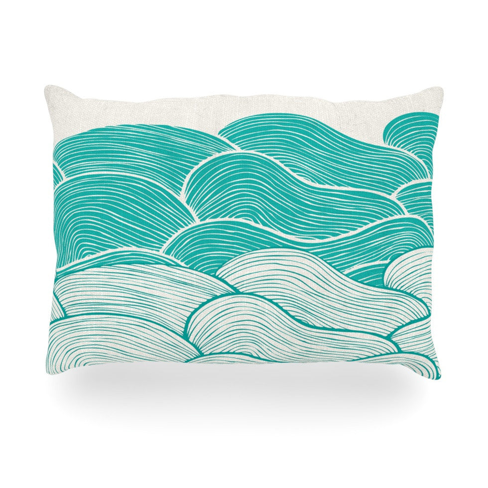 "Pom Graphic Design ""The Calm and Stormy Seas"" Green Teal Oblong Pillow - KESS InHouse"