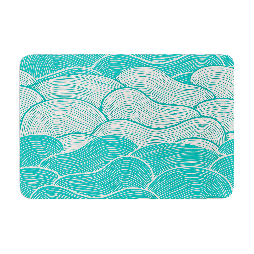"Pom Graphic Design ""The Calm and Stormy Seas"" Green Teal Memory Foam Bath Mat - KESS InHouse"