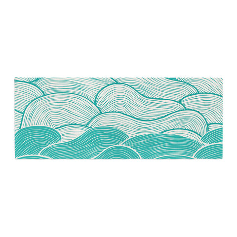 "Pom Graphic Design ""The Calm and Stormy Seas"" Green Teal Bed Runner - KESS InHouse"