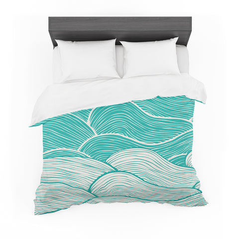 "Pom Graphic Design ""The Calm and Stormy Seas"" Green Teal Featherweight Duvet Cover"