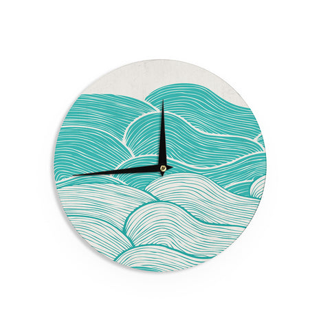 "Pom Graphic Design ""The Calm and Stormy Seas"" Green Teal Wall Clock - KESS InHouse"