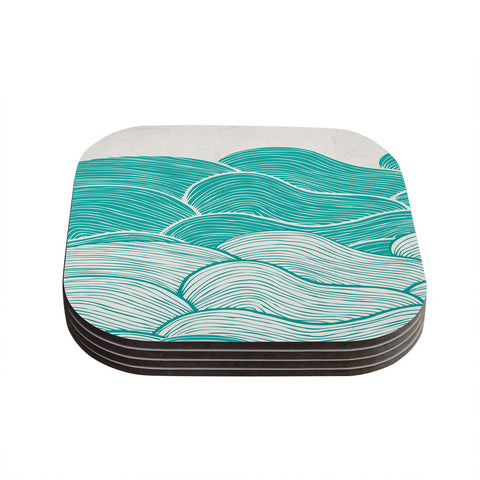 "Pom Graphic Design ""The Calm and Stormy Seas"" Green Teal Coasters (Set of 4)"