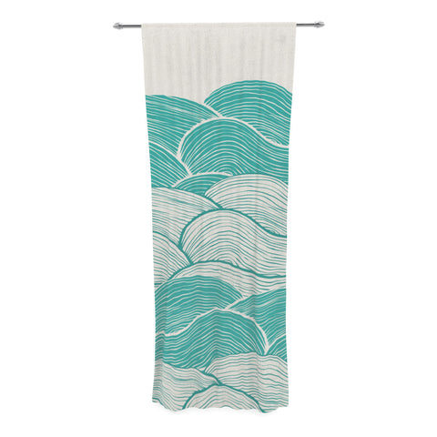 "Pom Graphic Design ""The Calm and Stormy Seas"" Green Teal Decorative Sheer Curtain - KESS InHouse  - 1"