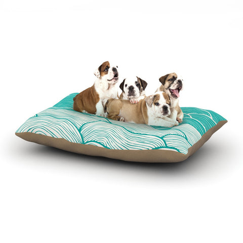 "Pom Graphic Design ""The Calm and Stormy Seas"" Green Teal Dog Bed - KESS InHouse  - 1"