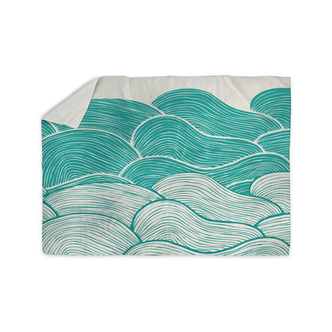 "Pom Graphic Design ""The Calm and Stormy Seas"" Green Teal Sherpa Blanket - KESS InHouse  - 1"