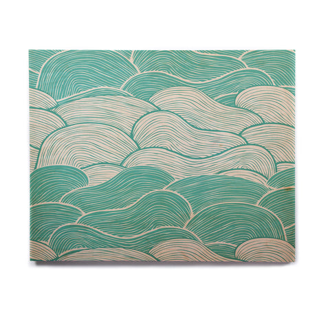 "Pom Graphic Design ""The Calm and Stormy Seas"" Green Teal Birchwood Wall Art - KESS InHouse  - 1"