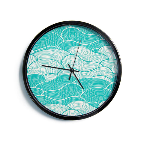 "Pom Graphic Design ""The Calm and Stormy Seas"" Green Teal Modern Wall Clock"