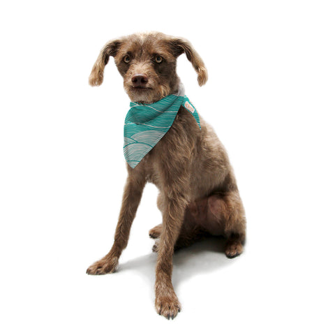 "Pom Graphic Design ""The Calm and Stormy Seas"" Green Teal Pet Bandana - KESS InHouse  - 1"