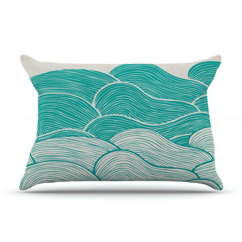 "Pom Graphic Design ""The Calm and Stormy Seas"" Green Teal Pillow Sham - KESS InHouse"