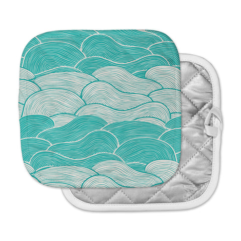 "Pom Graphic Design ""The Calm and Stormy Seas"" Green Teal Pot Holder"