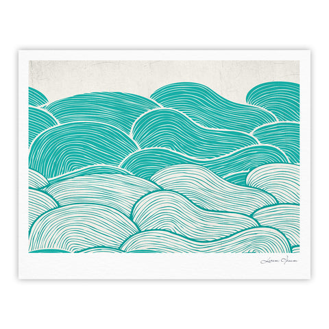 "Pom Graphic Design ""The Calm and Stormy Seas"" Green Teal Fine Art Gallery Print - KESS InHouse"