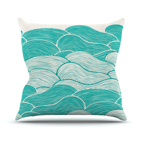 "Pom Graphic Design ""The Calm and Stormy Seas"" Green Teal Outdoor Throw Pillow - KESS InHouse  - 1"
