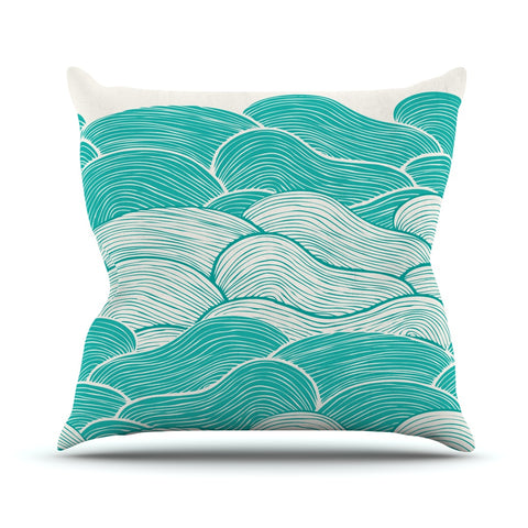 "Pom Graphic Design ""The Calm and Stormy Seas"" Green Teal Throw Pillow - Outlet Item"