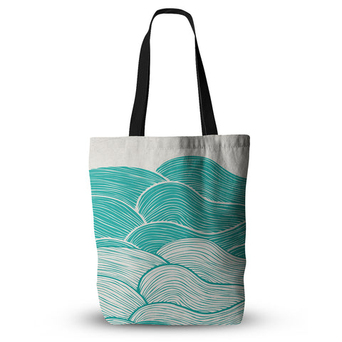 "Pom Graphic Design ""The Calm and Stormy Seas"" Green Teal Everything Tote Bag - Outlet Item"