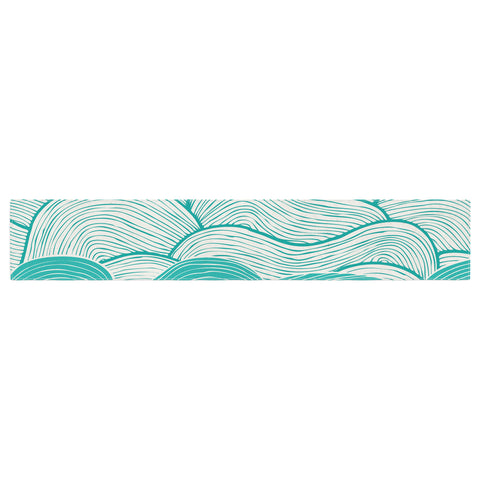 "Pom Graphic Design ""The Calm and Stormy Seas"" Green Teal Table Runner - KESS InHouse  - 1"