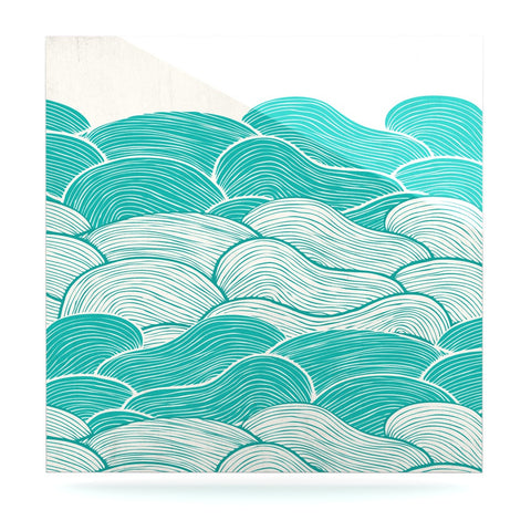 "Pom Graphic Design ""The Calm and Stormy Seas"" Green Teal Luxe Square Panel - KESS InHouse  - 1"