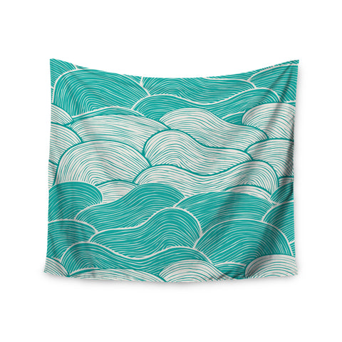 "Pom Graphic Design ""The Calm and Stormy Seas"" Green Teal Wall Tapestry - KESS InHouse  - 1"