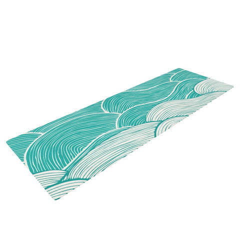 "Pom Graphic Design ""The Calm and Stormy Seas"" Green Teal Yoga Mat - KESS InHouse  - 1"