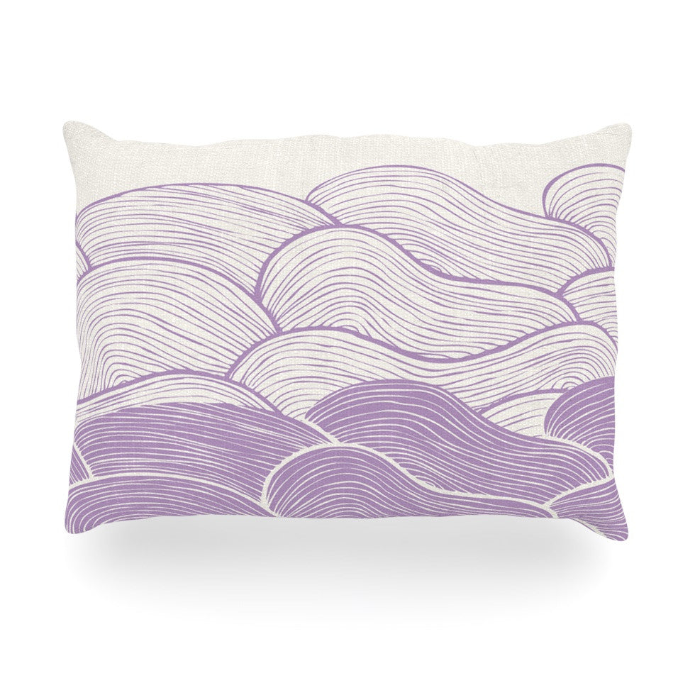 "Pom Graphic Design ""The Lavender Seas"" Purple Waves Oblong Pillow - KESS InHouse"