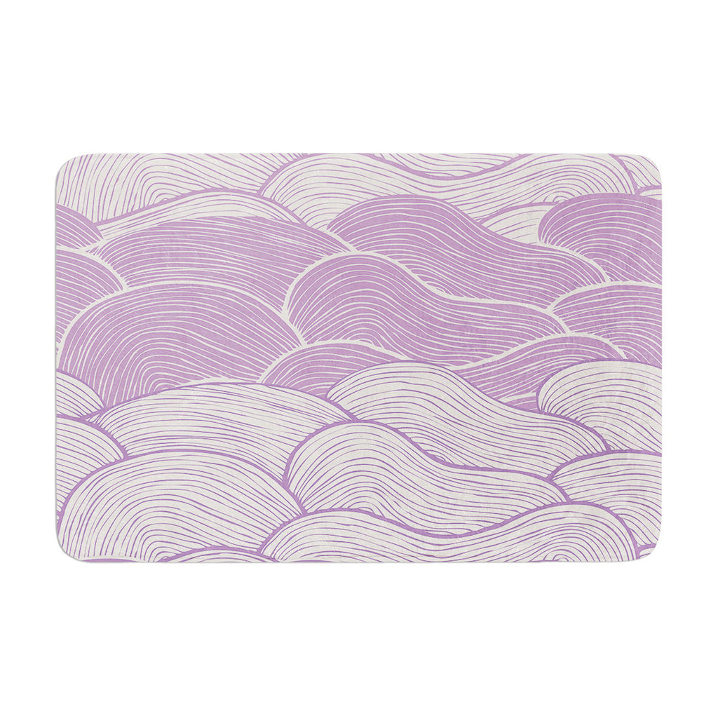 "Pom Graphic Design ""The Lavender Seas"" Purple Waves Memory Foam Bath Mat - KESS InHouse"