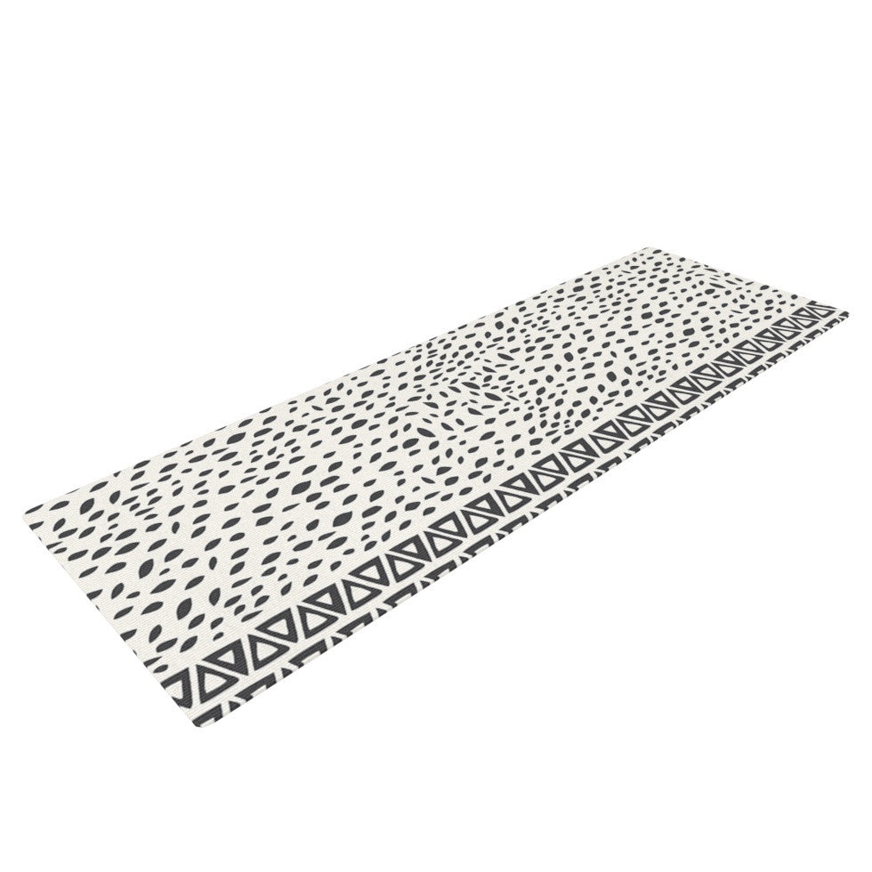 "Pom Graphic Design ""Wind Day"" White Black Yoga Mat - KESS InHouse  - 1"
