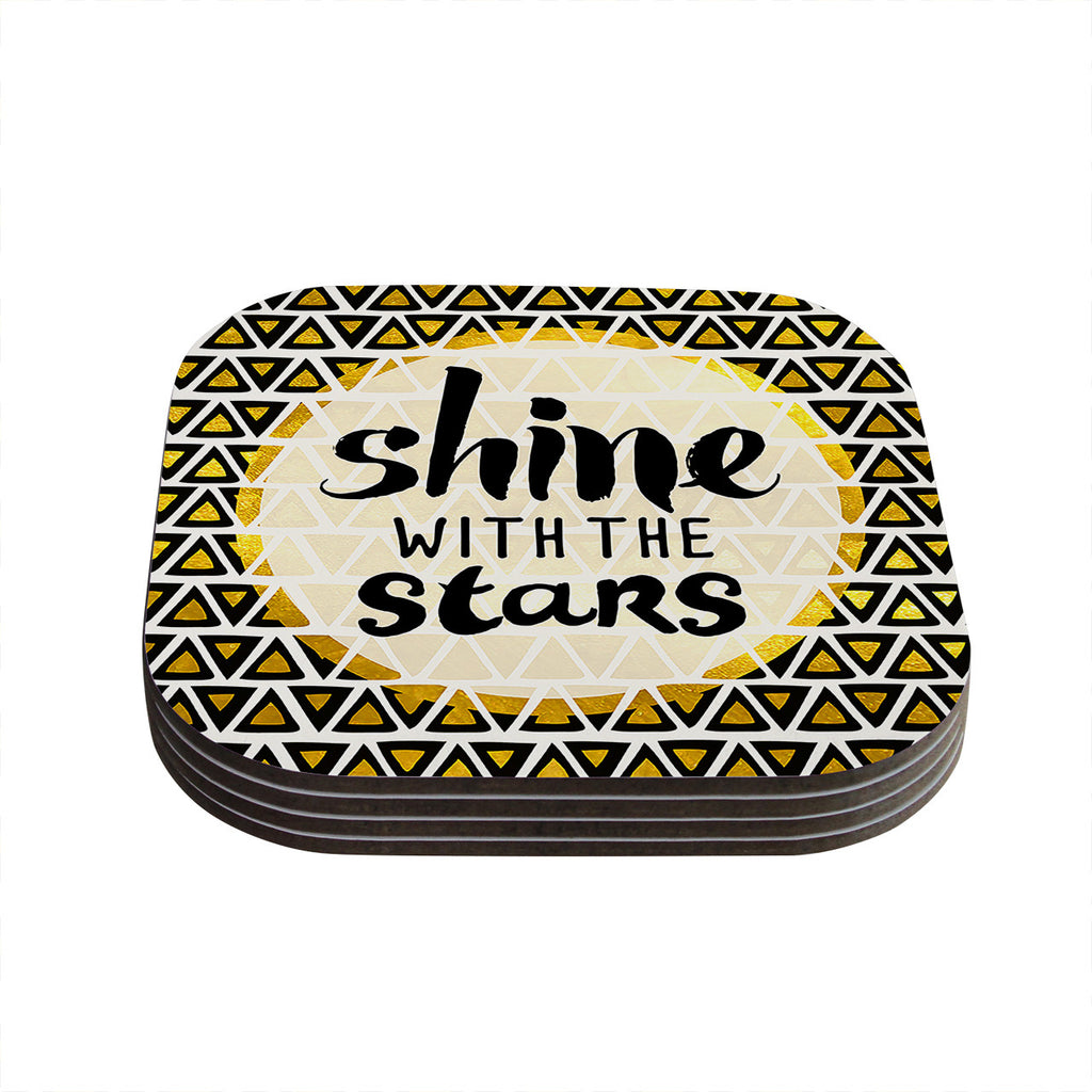 "Pom Graphic Design ""Shine with the Stars"" Black Yellow Coasters (Set of 4)"