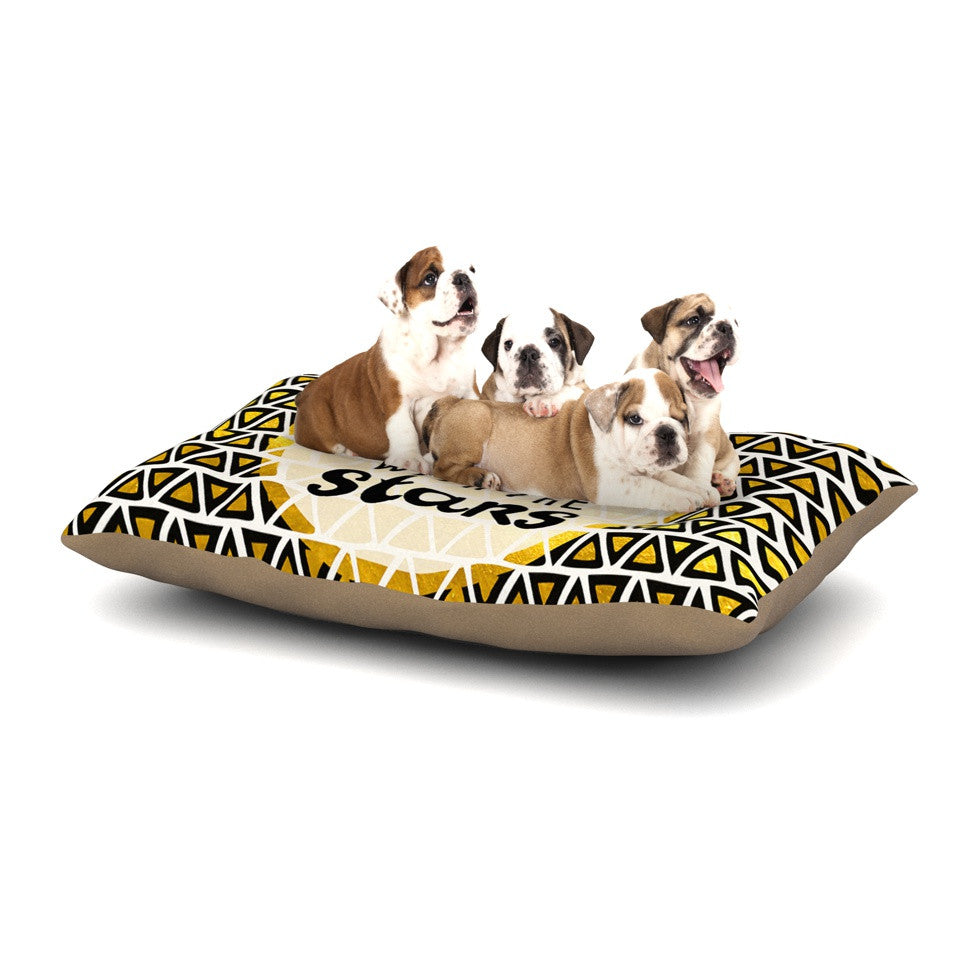 "Pom Graphic Design ""Shine with the Stars"" Black Yellow Dog Bed - KESS InHouse  - 1"
