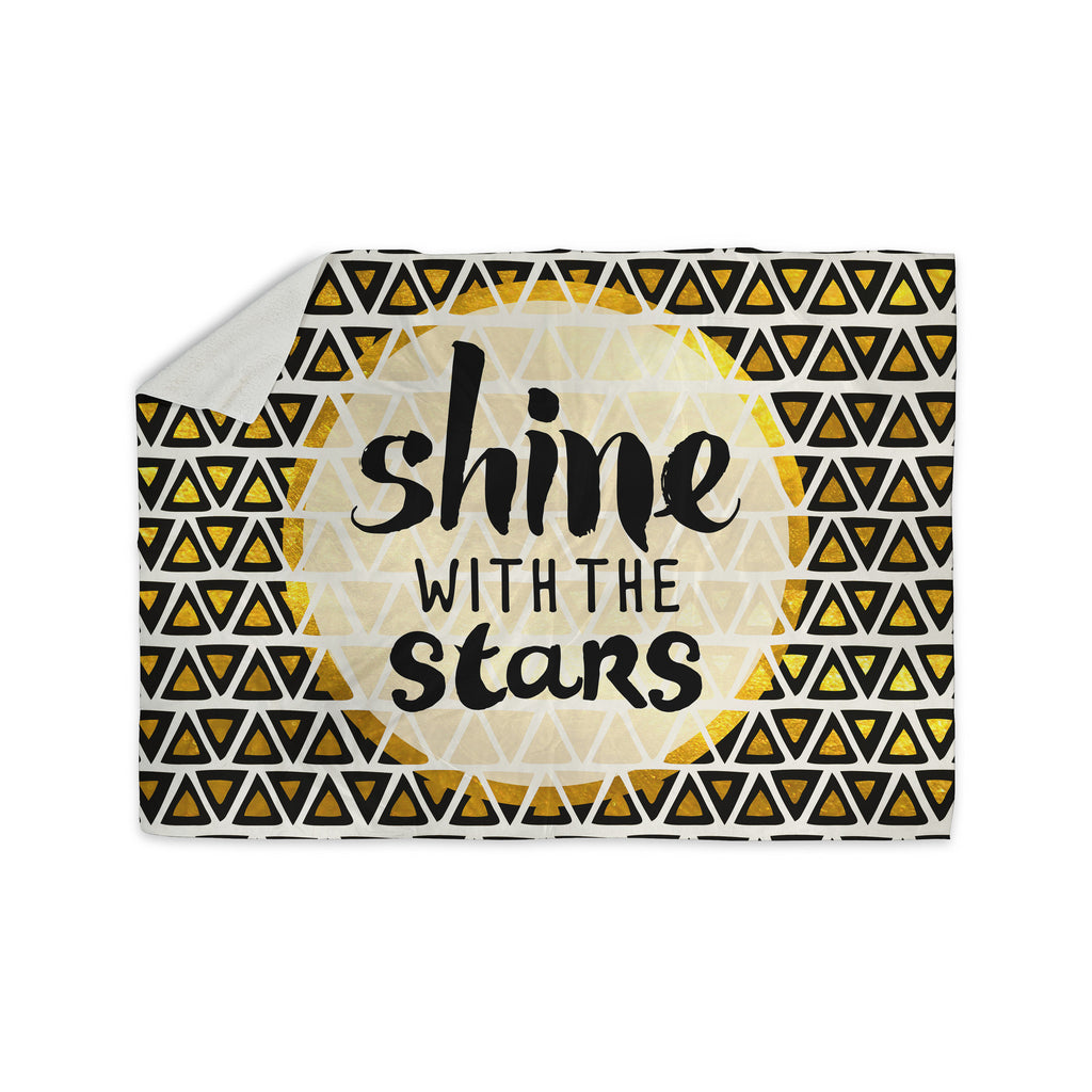 "Pom Graphic Design ""Shine with the Stars"" Black Yellow Sherpa Blanket - KESS InHouse  - 1"
