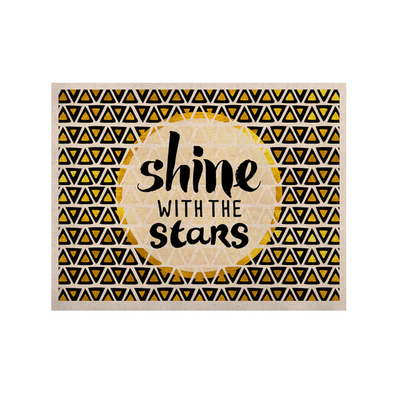 "Pom Graphic Design ""Shine with the Stars"" Black Yellow KESS Naturals Canvas (Frame not Included) - KESS InHouse  - 1"