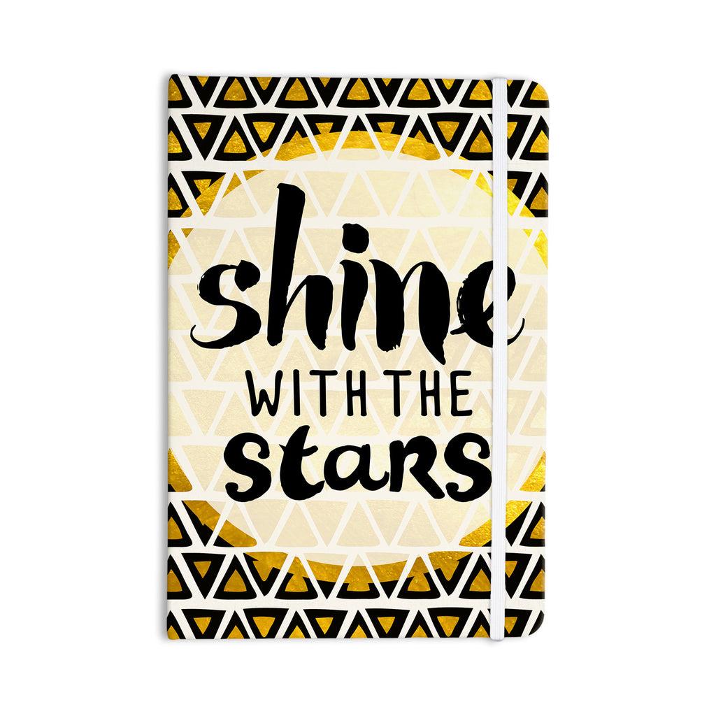 "Pom Graphic Design ""Shine with the Stars"" Black Yellow Everything Notebook - KESS InHouse  - 1"