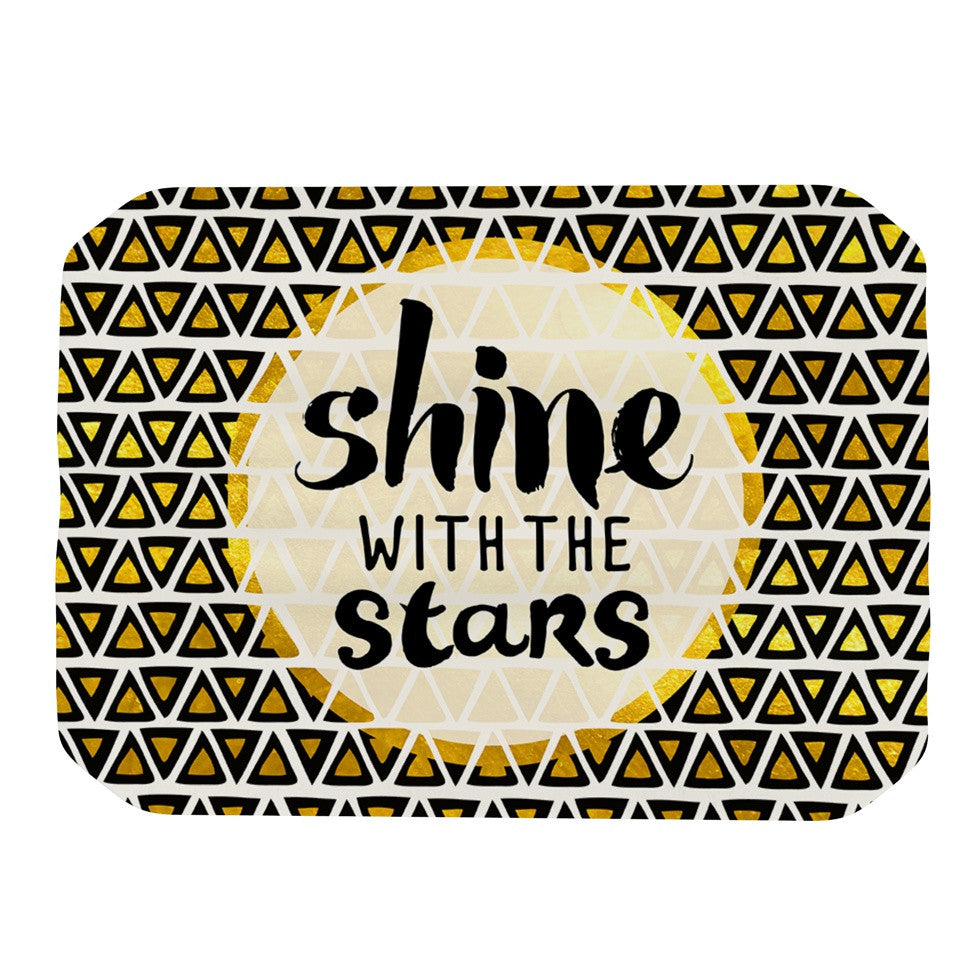 "Pom Graphic Design ""Shine with the Stars"" Black Yellow Place Mat - KESS InHouse"