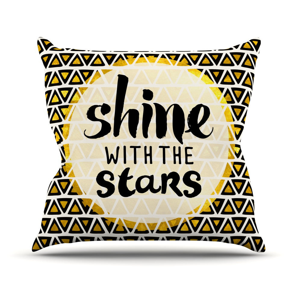 "Pom Graphic Design ""Shine with the Stars"" Black Yellow Outdoor Throw Pillow - KESS InHouse  - 1"